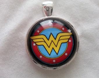 Wonder Woman Glass Pendant Necklace