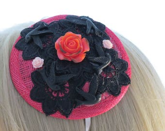 Pink fascinator headband with blackbirds and lace