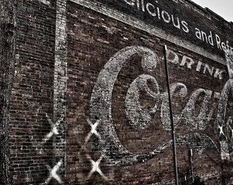 Antique Coca Cola Ad, Coca Cola Advertising Signs Photos, Old Coke Art, Urban Photography Asheville