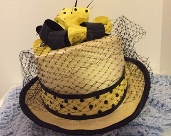 Hat, Top Hat, Yellow Top Hat, Black and Yellow Hat,Yellow and Black Hat, Races Hat, Poolka Dot Hat, Veil Netting Hat, Ribbon Hat, Riding Hat