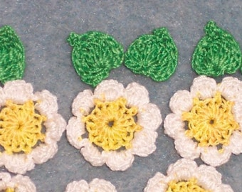 handmade cotton thread crochet applique flowers with leaves  --  1080