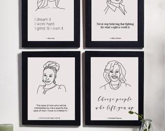 Feminist Quote prints - Michelle Obama, Chimamanda, Hillary Clinton, Beyonce quote, digital print, feminist gifts, Inspirational, wall art