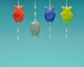 Colorful Hand-Painted Peruvian Fish Dangle Earrings with Bubbles