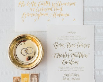 Gold Foil Calligraphy Wedding Invitation Suite, Custom Design