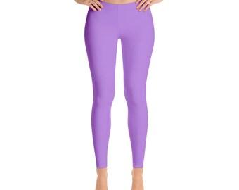 Lavender Leggings, Mid Rise Waist Workout Pants, Womens Yoga Leggings
