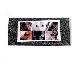 greyhound eyes photo checkbook cover - faux leather with black and silver sparkles
