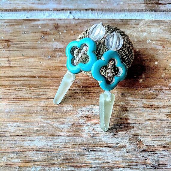 Sea Glass Earrings // Turquoise Hematite Stud Seaglass Earrings // Silver Bohemian Women's Gift // Moroccan Night Stud Earrings