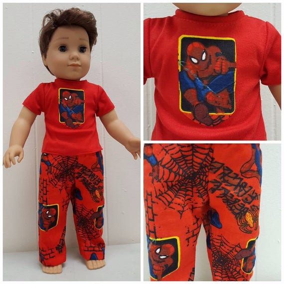 Spiderman PJ'S for Logan. 18 Inch Doll American Handmade