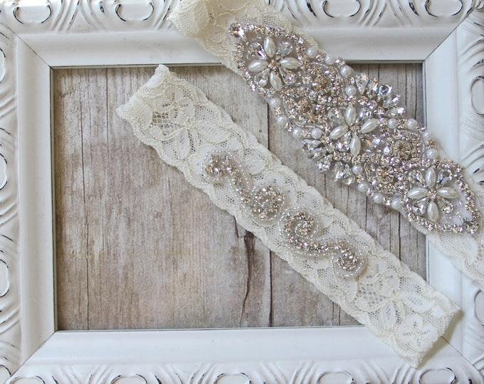 Featured listing image: Light Ivory Beaded Lace Wedding Garter Set, Ivory Lace Garter Set, Toss Garter, Keepsake Garter, Customizable Handmade, Wedding Dress, Prom