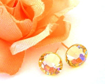 Peach Swarovski stud earrings, 7mm light peach crystal posts, pale orange
