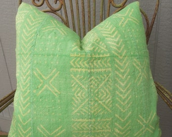 Sale-Authentic Green  African mud cloth with yellow chevrons  and dots pillow cover