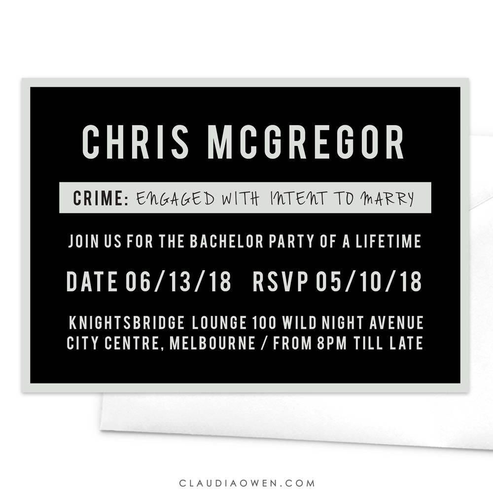 Mugshot Board Party Invitation Bachelor Party Bucks Party