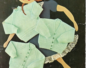 """PDF Vintage Baby Knitting Pattern, Bellmans 1127, Baby Cardigans & Sweater DK Double Knitting 20-24"""" 6-36 months Instant Download"""