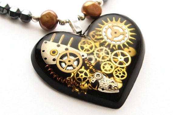 Steampunk Heart Necklace Sterling Silver, Hematite and Brass Beads and Freshwater Baroque Pearls. Watch Parts, Gears/Cogs In Resin, Black