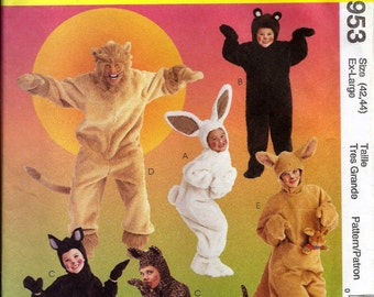 Animal costume patterns:  rabbit, bear, cat, leopard, lion and kangaroo Adult & Kid sizes UNCUT and FF  McCalls 8953/M6106 (1997) K0790