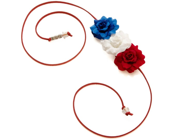 Patriotic Rose Side Flower Crown