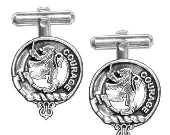 Cumming Clan Crest Scottish Cufflinks; Pewter, Sterling Silver and Karat Gold