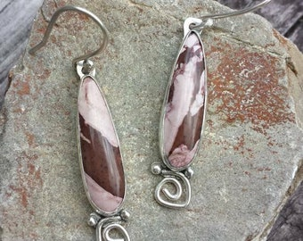 Sterling silver and jasper dangle earrings