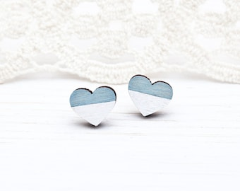 Blue Tiny Earring, studs Wooden Earrings, Pale Blue Hearts Earrings, Bridesmaids Jewelry, Valentine's Day Gift, Mother Day Gift