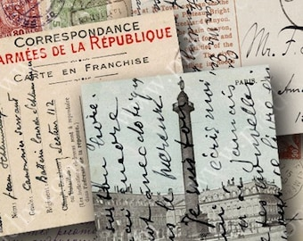 French, German and Italian Vintage Postcards in 2.5 inch squares Two -- piddix digital collage sheet 447
