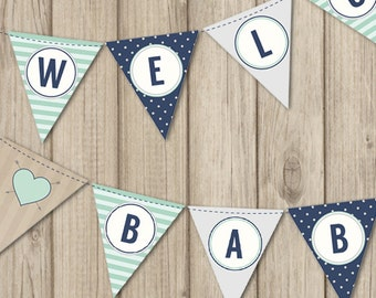RUSTIC BABY SHOWER Banner - Welcome Baby Boy Banner - Mint and Navy Baby Shower