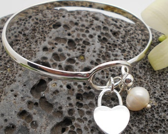 Silver Heart and Freshwater Pearl Bracelet, Love, Valentine, Sweetheart - Last two left!