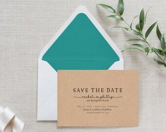 Rustic Kraft Paper Wreath Calligraphy Save the Date, Flat Card, Postcard | Deposit