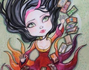 Fantasy Tarot Witch Big Eye Fortune Teller Art Print by Leslie Mehl