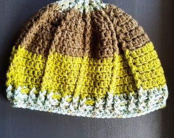 Adult and Child Hat Set- Winter Hat - Blue, Green, Brown
