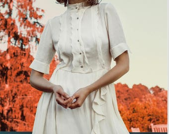 Bridal shower dress, ivory knee length dress, work  dress, from ManonMondan