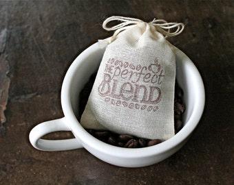 Coffee favor bags, set of 50, cotton favor bags, The Perfect Blend, wedding favor, bridal shower,  party favor, favor bag, cloth favor bags