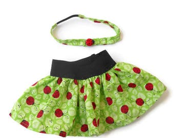 18 Inch Doll Skirt, Headband, Ladybug Skirt and Headband, Girl Doll Clothes, 18 Inch Doll Clothes