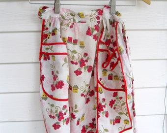 Red and White Half Apron, Vintage Apron with Red Flowers, 60's Apron, Vintage Apron, Hostess Apron, Picnic Apron, by mailordrevintage