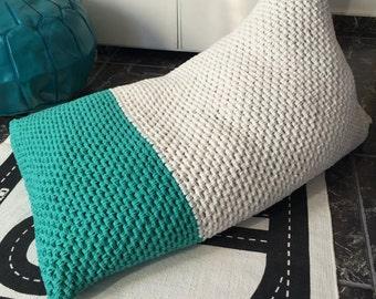 Knit Bean Bag Chair, Adult Lounge Seating Floor Pillow, Kids BeanBag, Teen Chair, Playroom Sitsack Lounger Cushion