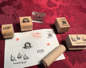 Small critter stamps - used - set of 6