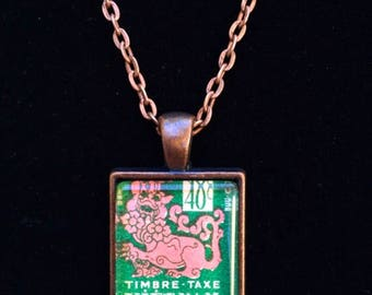 Vietnam Postage Stamp Necklace | Vietnamese jewelry | Vintage stamp