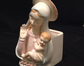Vintage Napco Madonna and Child Planter 1950's Catholic Christian Home Decor Indoor Gardens Peaceful Elements Holy Virgin Mary