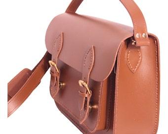 Satchel with Magnetic Catches Satchel Tan Leather Satchel Shoulder Bag