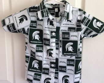 Boys MSU button down collared shirt size 6months-6 years