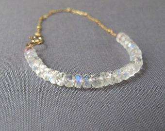 rainbow moonstone bracelet with gold satellite chain, AAA grade gemstone and metal, moonstone bracelet, gold bracelet, bridesmaid gift