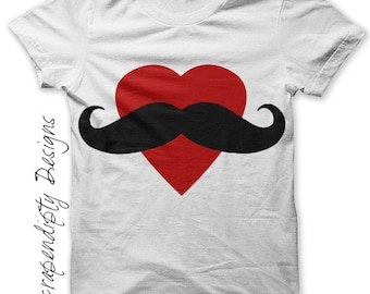 Girls Mustache Iron on Transfer - Heart Iron on Shirt PDF / Moms Mustache Shirt / Kids Valentines Tshirt / Matching Family Shirts Tee IT175