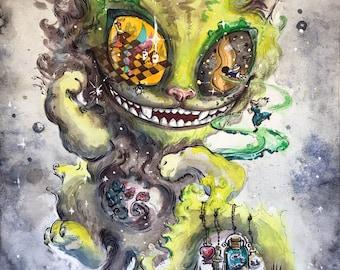Cheshire cat watercolor painting - Lewis Carroll decor Original artwork Wonderland art Unsual wall decor Whismical art
