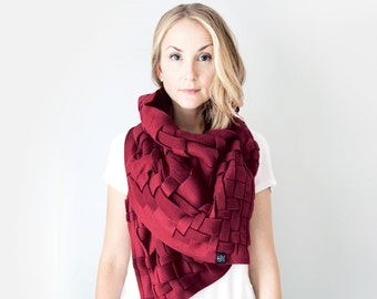Wraps Shawls Oversized Scarf Handwoven Wrap Unique Handmade Scarves Infinity Scarf Winter Scarf Blanket Scarf Womens Scarves: Cranberry