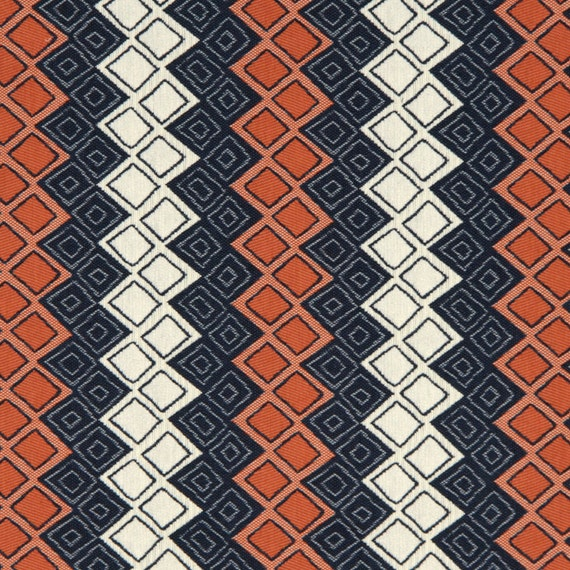 Navy Blue Orange Upholstery Fabric Heavyweight Woven Blue White
