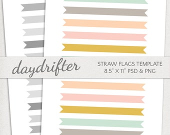 "Customizable Straw Flags Cupcake Toppers Template -- DIY Instant Download 8.5"" x 11"" Paper"