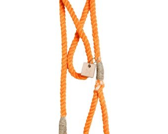 Pumpkin orange cotton rope leash, dip dye collar, rope dog lead