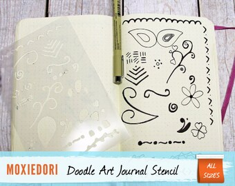 "Doodle Art Stencil - Planner Bullet Point Journal, fits Leuchtturm and Moleskine 5"" by 7"""