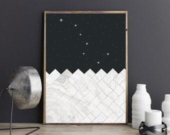 Ursa major print,Constellation , Astronomy , Constellations Print,  Modern Wall Print, Galaxy Print,Black and white,Geometric print , Kids