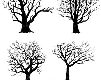 "Tree Silhouettes Clipart ""Tree SILHOUETTES"" clip art pack,Tree Branchs,Branchs,Silhouettes,Branch,Scrapbook, Instant Download Sh003"