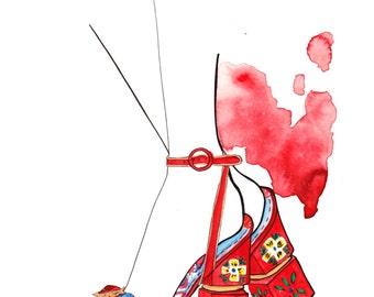 Dolce and Gabbana SS16 02 Art Print Fashion Illustration, Fashion Sketch, Fashion Art, Watercolour Illustration